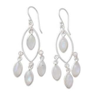 Handcrafted Sterling Silver 'Luminous Dew' Rainbow Moonstone Chandelier Earrings (India)