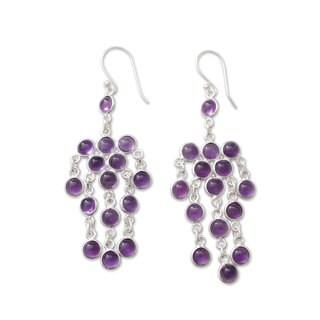 Handcrafted Sterling Silver 'Ecstatic Purple' Chandelier Amethyst Earrings (India)