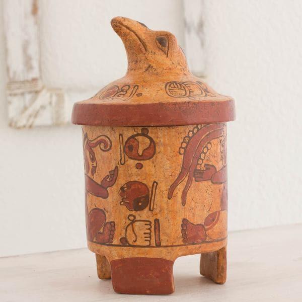 Handcrafted Ceramic 'Pibil Falcon' Maya Replica Decorative Vessel (El Salvador)
