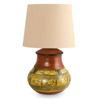 Handcrafted Ceramic 'Tarahumara Mystery' Table Lamp (Mexico)