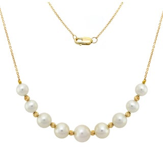 DaVonna 14K Yellow Gold Beads and Diamond Cut Chains Necklace with 6.5-10mm White Graduated Pearls.