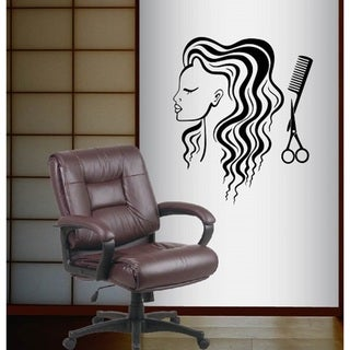Vinyl Decal Woman Face with Scissors and Comb Hair Styling Hair Beauty Salon Hairdo Wall Sticker