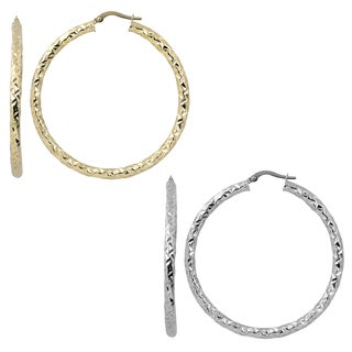Fremada Italian 14k Gold 3x40-mm Diamond-cut Round Hoop Earrings (yellow gold or white gold)
