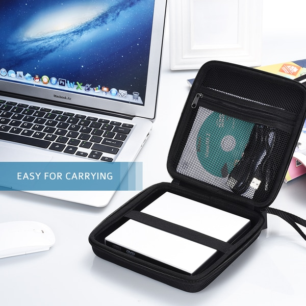Black Neoprene Hard Shockproof External Drive Carrying Case With Extra Protective Storage Pocket