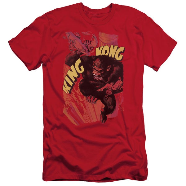 King Kong/Plane Grab Short Sleeve Adult T-Shirt 30/1 in Red