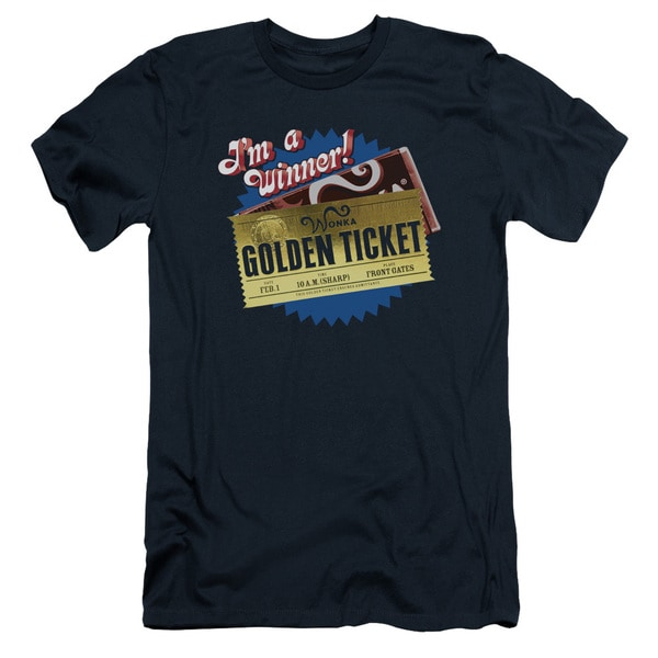 Chocolate Factory/Golden Ticket Short Sleeve Adult T-Shirt 30/1 in Navy