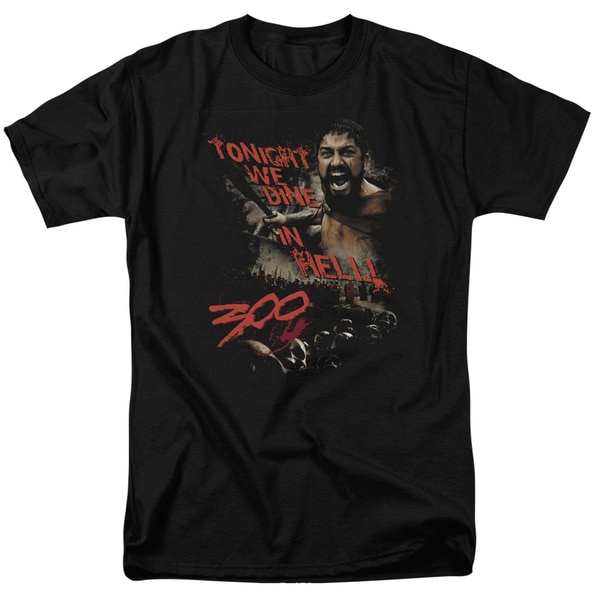 300/Dine in Hell Short Sleeve Adult T-Shirt 18/1 in Black