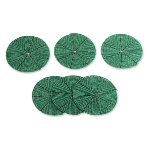 Set of 6 Beaded 'Shimmering Emerald' Coasters (Indonesia)