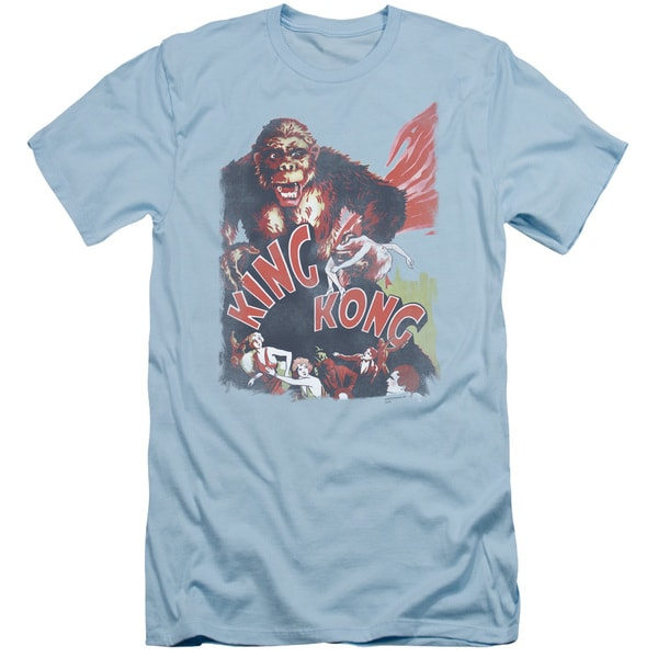 King Kong/You Better Run Short Sleeve Adult T-Shirt 30/1 in Light Blue