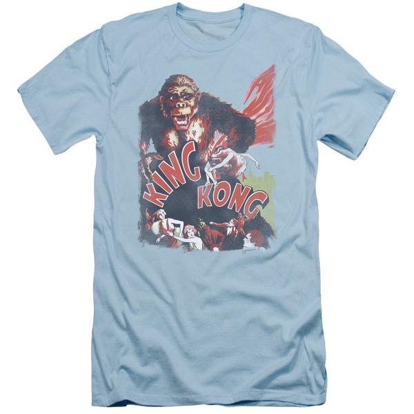 King Kong/You Better Run Short Sleeve Adult T-Shirt 30/1 in Light Blue