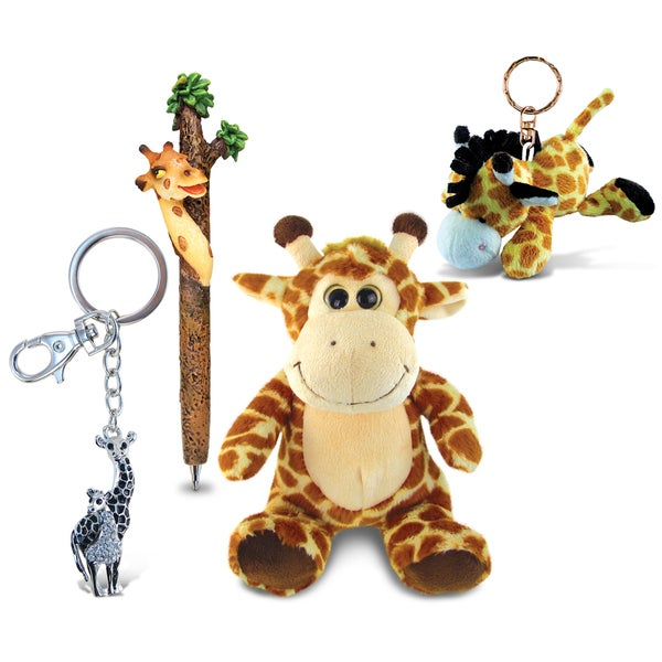 Animals\Zoo Animals Theme Set of 4 Giraffe Planet Pen, Super Soft Plush, Plush Keychain, and Sparkling Charm