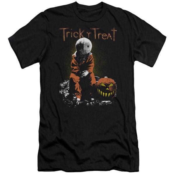 Trick R Treat/Sitting Sam Short Sleeve Adult T-Shirt 30/1 in Black 20049474