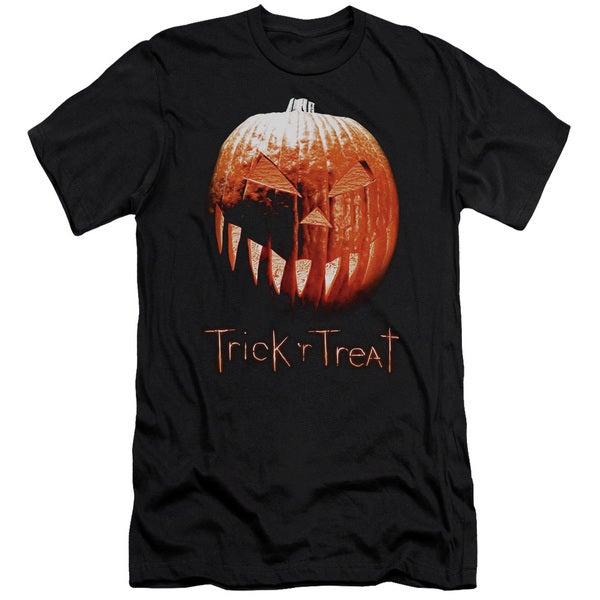 Trick R Treat/Pumpkin Short Sleeve Adult T-Shirt 30/1 in Black