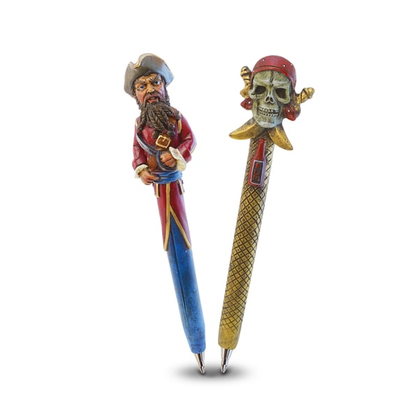 Puzzled Resin Pirate Skull and Pirate Captain Pen Set