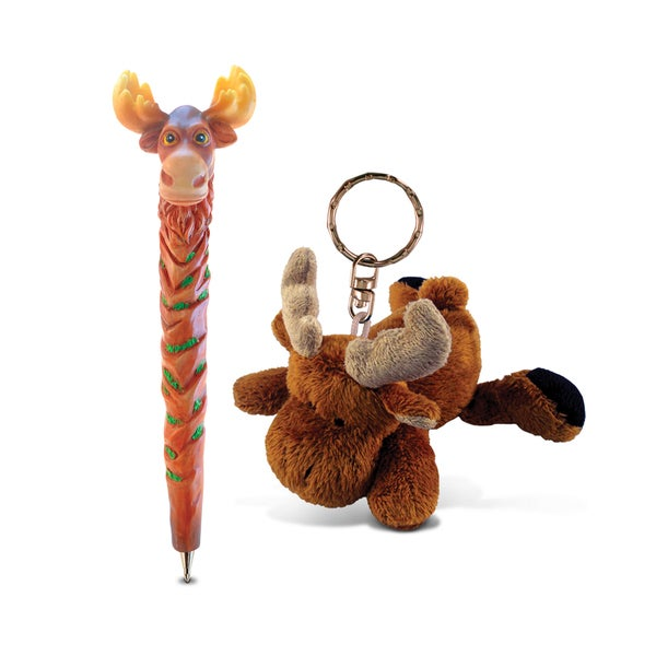 Set of 2 Unique and Useful Animals\Wild Animals Theme Gift and Souvenir Moose Planet Pen and Plush Keychain