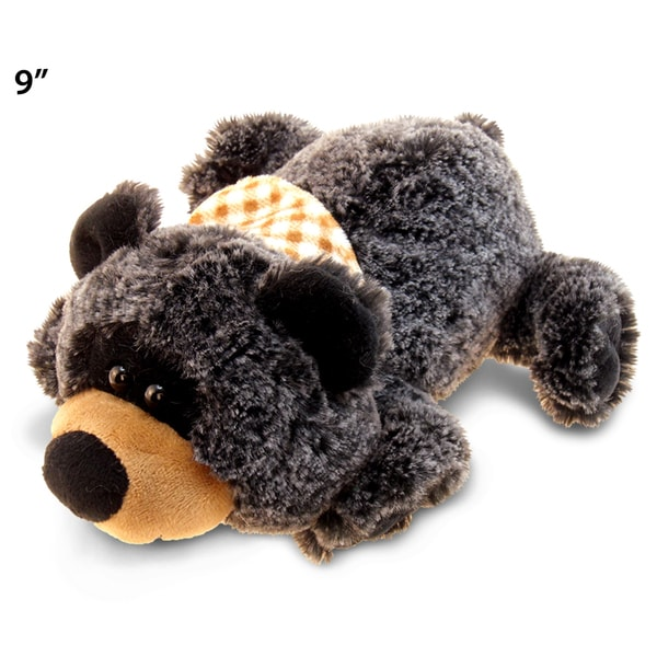 Puzzled Super Soft Plush Lying Black Bear