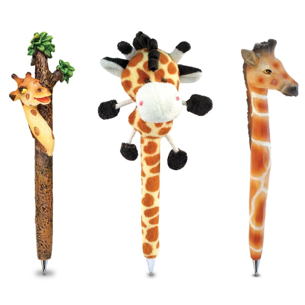 Puzzled Giraffe Plush Pen (Set of 3)