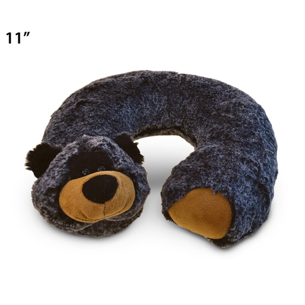 Puzzled Super Soft Plush Black Bear Neck Pillow