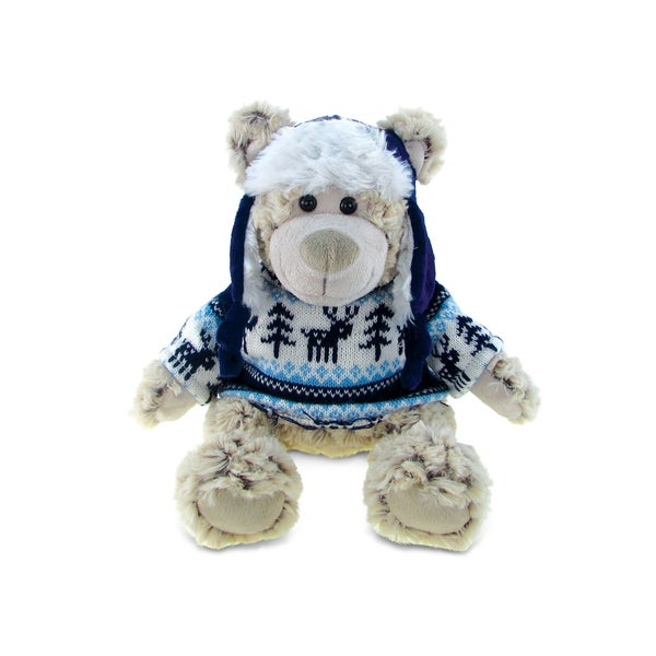 Puzzled Polar Bear with Sweater Plush Toy