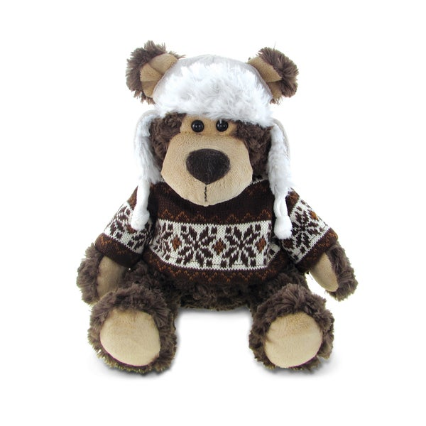 Puzzled Brown Grizzly Bear with Sweater Plush Toy