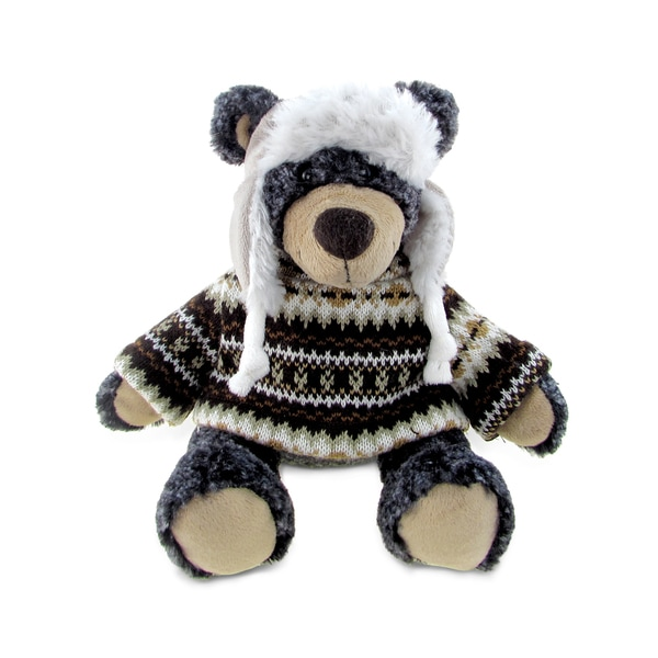 Puzzle Inc Super Soft Black Plush Bear with Clothes