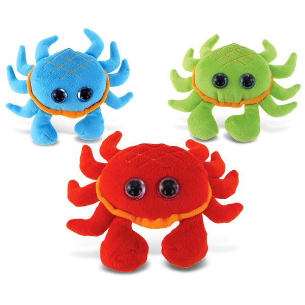 Puzzled Blue/Green/Red 6-inch Big-eye Plush Crab Collection (Pack of 3)
