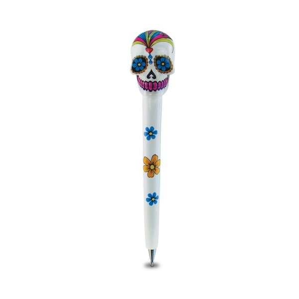 Puzzled Planet White Skull Pen