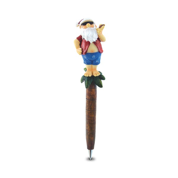 Puzzled Planet Pens Beach Collection Resin Santa on an Island Pen