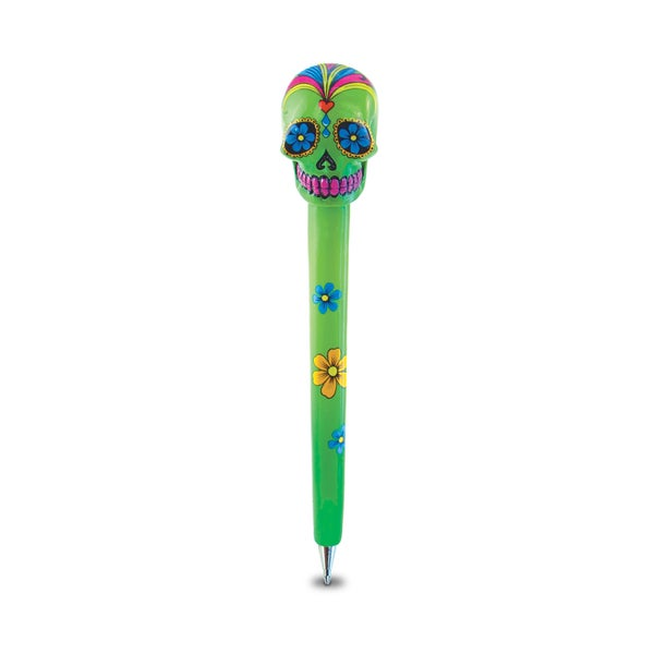 Puzzled Planet Pen Green Resin Skull Pen