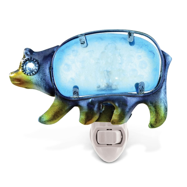Puzzled Multicolor Metal/Glass Black Bear Night Light