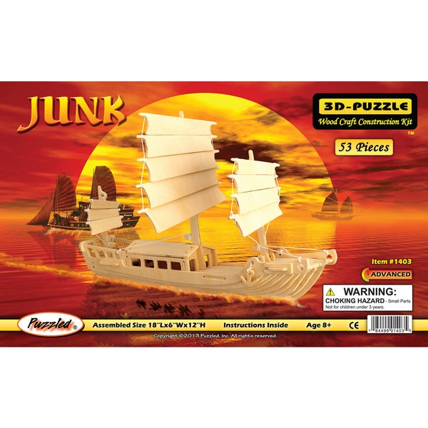 Puzzled Wood 'Junk Boat' 3D Puzzle Kit