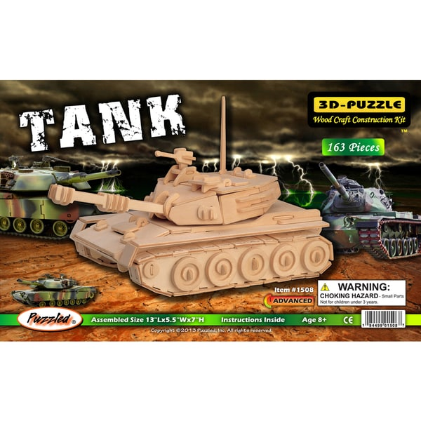 Puzzled 3D Puzzles Wood Tank Construction Kit