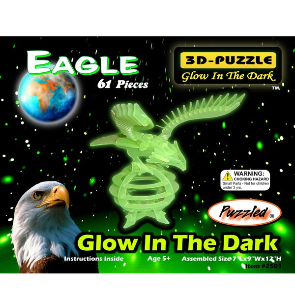 Puzzled Glow-in-the-Dark Eagle 3D Wood Puzzle