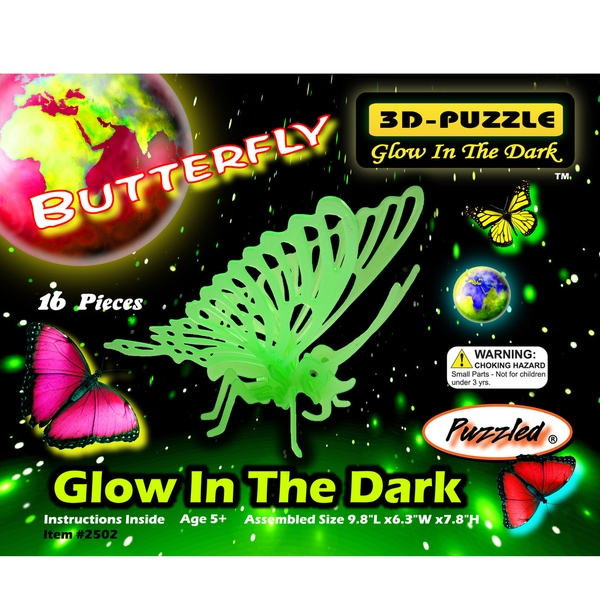 Puzzled Glow in the Dark Butterfly 3D Wooden Puzzle