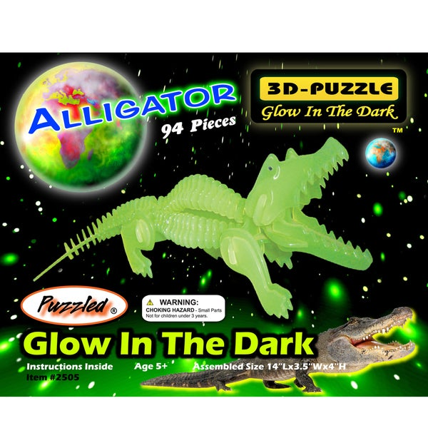 Puzzled Inc. 3-millimeter Natural Wood Glow In The Dark 94-piece 3D Alligator Puzzle 20055891
