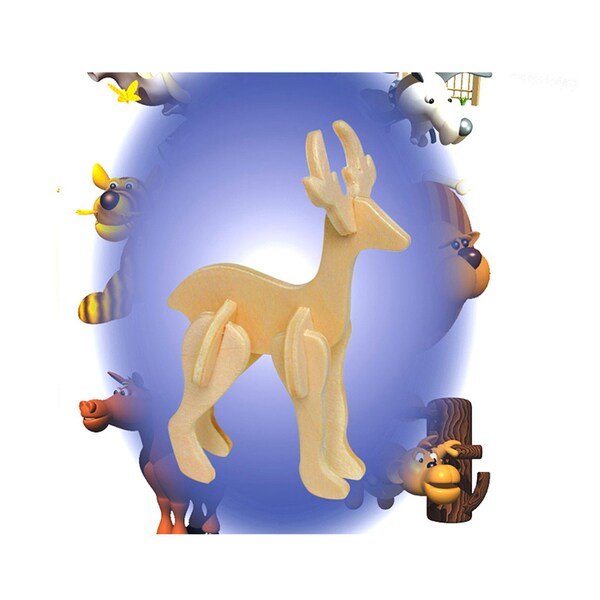 Puzzled Wood 'Reindeer' Mini 3D Puzzle Kit