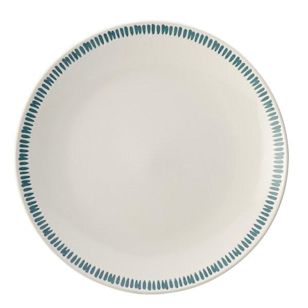 Rachael Ray Cucina Sun Daisy Dinnerware 10-3/4-Inch Stoneware Dinner Plate, Agave Blue 20058052
