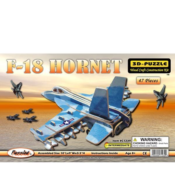 Puzzled F-18 Hornet Wood Illuminated 3D Puzzle