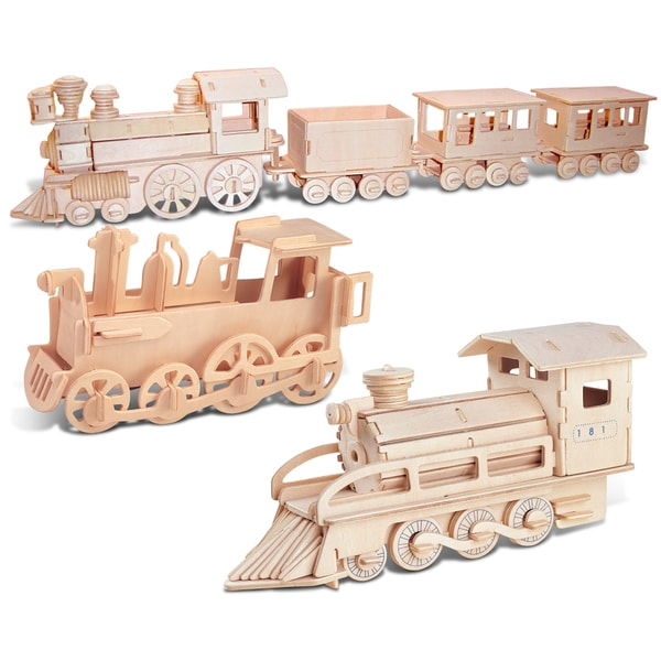 Puzzled Rolling Locomotive, Steam Train and Train Wooden 3D Puzzle Construction Kit