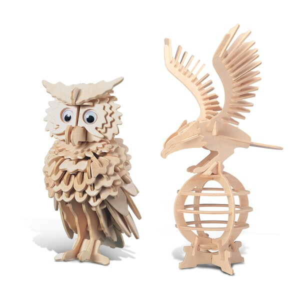 Puzzled Inc wooden Eagle and Owl 3D Puzzle Construction Kit