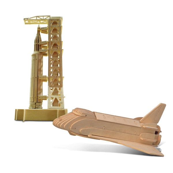 Puzzled Space Shuttle and Saturn Wooden 3D Puzzle Construction Kit