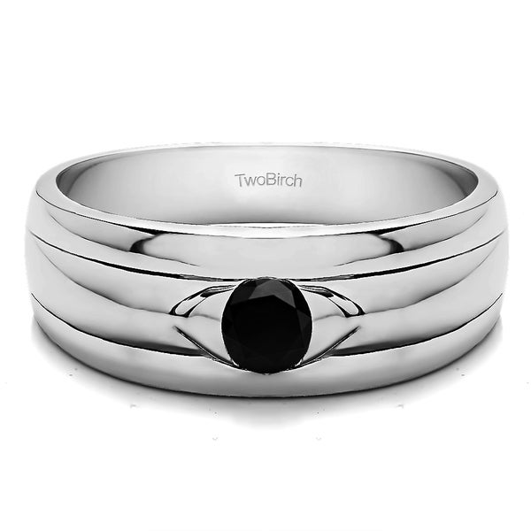 Two Birch Sterling Silver Black Cubic Zirconia Men's Wedding Fashion Ring
