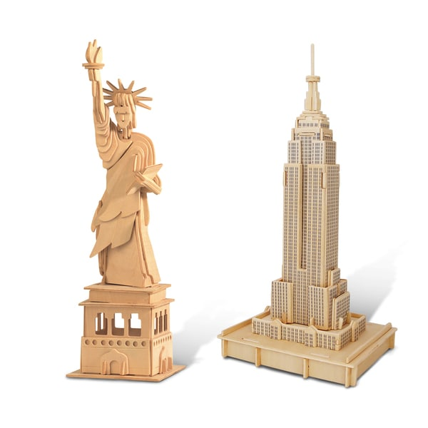 Puzzled The Statue Of Liberty snd Empire State Building Wooden 3D Puzzle Construction Kit 20058479