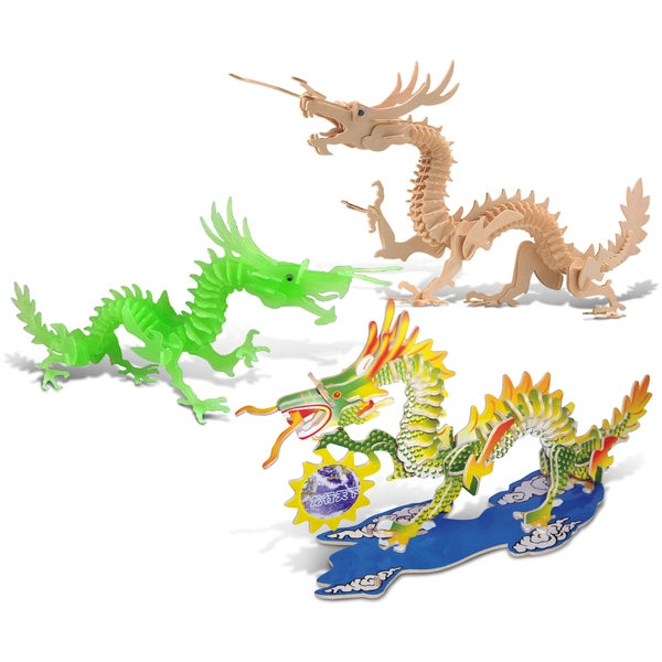Puzzled Wood Dragon, Glow in the Dark Dragon, and Multicolored Dragon 3D Puzzle Construction Kit