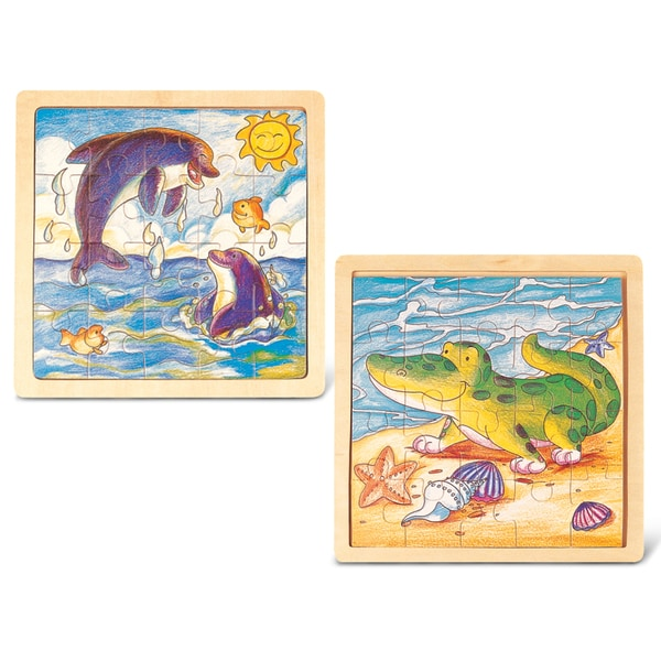 Puzzled Inc. Dolphin and Alligator Wooden Jigsaw
