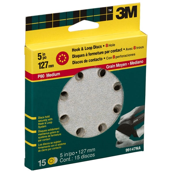 "3M 99147NA 80 Grit 5"" 8 Hole Hook & Loop Sanding Disc"