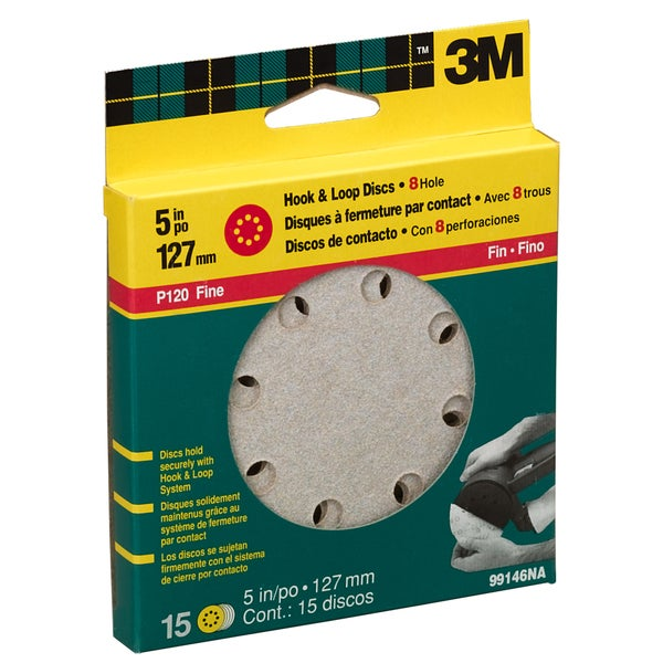 "3M 99146NA 120 Grit 5"" Fine Hook & Loop Sanding Disc"