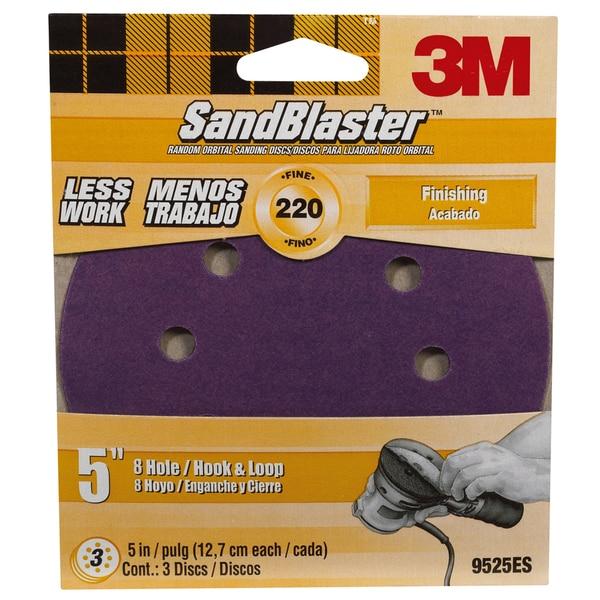 """3M 9525SB-ES 5"""" 220 Grit 8 Hole Hook & Loop SandBlaster Sanding Disc"""