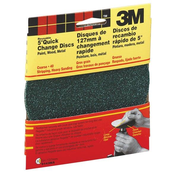 "3M 9143W 5"" Coarse Grit Quick Change Sanding Disk"