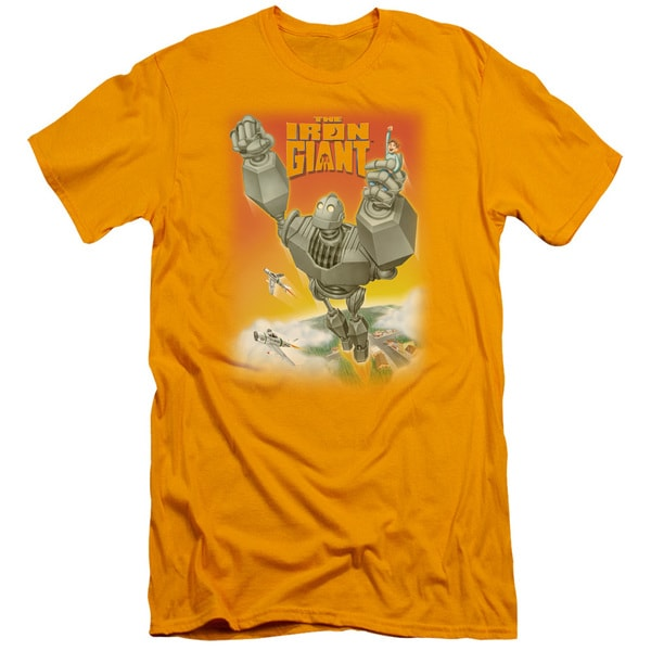 Iron Giant/Fly Away Short Sleeve Adult T-Shirt 30/1 in Gold